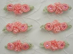 6pc Peach Coral Ribbon Rosette Spider Rose by delightfuldesigner, $8.50