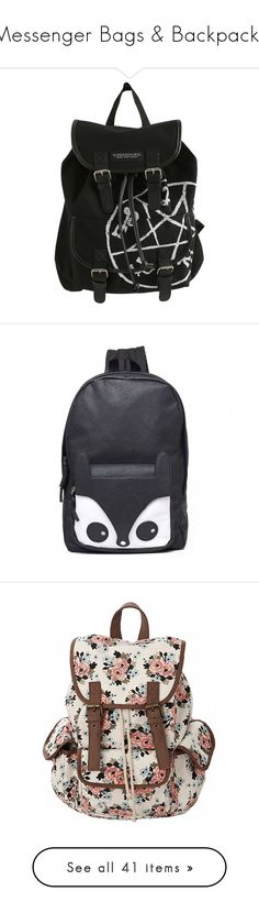 """""""Messenger Bags & Backpacks"""" by creatingpulsars ❤ liked on Polyvore featuring bags, backpacks, accessories, black, snap bag, drawstring bag, slouch bag, daypack bag, hot topic and day pack backpack"""