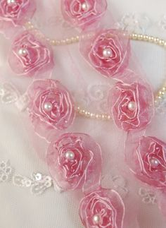 Organza Ribbon Shabby Rosettes Trim with Pearls in TEA ROSE PINK