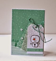 Love this snowy Christmas card in mint green & white  instead of blue - Cuttlebug embossed snow. Tag You're It! Challenge: Tag You're It Challenge #11 or 12