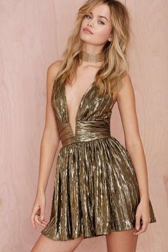 Nasty Gal Gilt Trip Metallic Dress - Going Out | Fit-n-Flare | Dresses | Dresses | Clothes | All | Party Perfect | Shine On | Disco | Sequins + Metallics | All