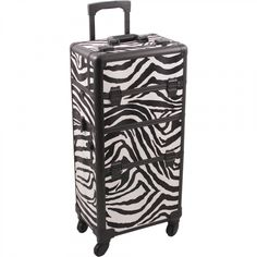Rolling Makeup Case HK6501 - White Zebra #RollingMakeupCase #ProfessionalRollingMakeupCase #MakeupCaseWithWheels Rolling Makeup Case, Mens Razors, Facial Steamer, Organic Face Products, Nail Art Supplies, White Zebra, Travel Makeup, Cool Things To Buy, Texture