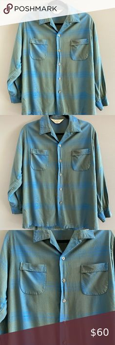 light blue color great used condition King Louie brand Vintage Polo Shirt size large polyester breast pocket