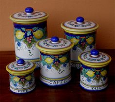 Deruta Italy Hand Painted Italian Pottery Canisters