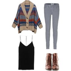Loose cardigan, black tank, gray jeans, and brown combat boots
