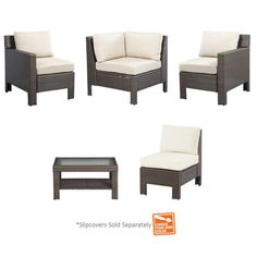 Hampton Bay Beverly 5-Piece Patio Sectional Seating Set with Cushions Insert (Slipcovers Sold Separately)