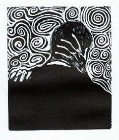 kiss by george walker. relief print. woodcut.
