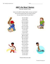 ABCs for boys names first grade-reading comprehension worksheet