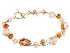 Autumn's Beauty Bracelet made with Golden Shadow and Crystal Copper Swarovski crystal beads.