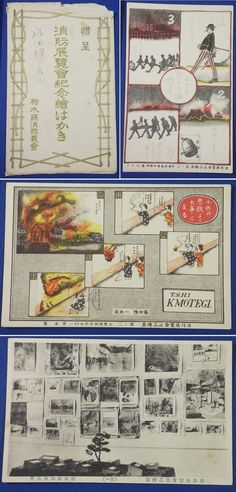"1920's Japanese Postcards ""Memorial Postcards for The Fire-fighting Exhibition"" /  ""Children's mischief could cause a serious incident."" Cartoon etc / Tochigi Pref. Fire-fighting Volunteer Society,  firefighter japan kid comic / vintage antique old art card / Japanese history historic paper material Japan"