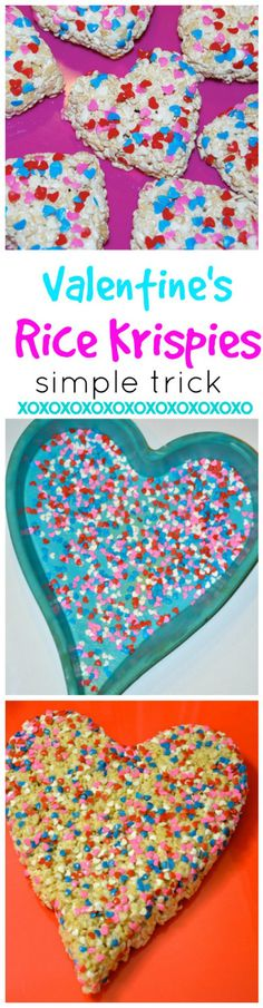 Great trick to keep sprinkles! A cute way to add a little love to your friends and family this Valentine's. Rice Krispie treat heart