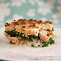 Sahniges Lachs-Spinat-Gratin    WildesGeschnetzel.de