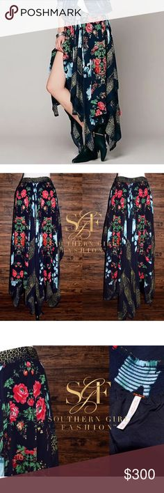 ❗SALE❗FREE PEOPLE Classic Skirt Bohemian Patterned Size Medium. New Without Tags. $168 MSRP + Tax.  • Beautiful convertible maxi skirt featuring multi-color floral printed detailing.  • Effortless, swingy silhouette & alternating asymmetrical lengths. • Banded, elastic waist allows for comfort. • Wear as a maxi skirt or strapless dress. • Self-lined with a mini skirt. • 100% Rayon. • Imported.   {Southern Girl Fashion - Closet Policy}   ✔️ Same-Business-Day Shipping (10am CT). ✔️ PRICE shown…