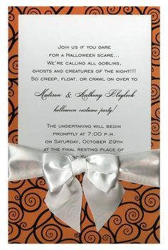 Black Curly Q on Orange with White Bow #ribbon #bow #skeleton #skull #halloween #fall #autumn #party #event #invite #invitation #invitationbox #design #interesting #pinterest #scary #spooky