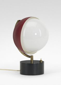 Angelo Lelli; Enameled Metal and Brass Table Lamp for Arredoluce, c1965.