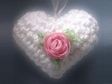 Crochet heart tutorial - rose included!!