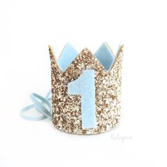 Miniature1st birthday crown headband- light blue and gold baby / boy birthday crown- pick any number