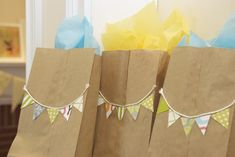 Use brown paper bags with embellishment for favor bags