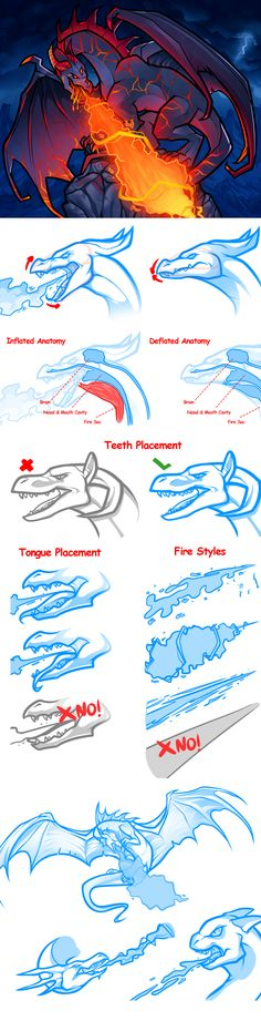 fire breathing dragon drawing art tips and design Creature Drawings, Animal Drawings, Cool Drawings, Drawing Animals, Doodle Drawing, Drawing Sketches, Drawing Tips, Drawing Ideas, Anatomy Drawing