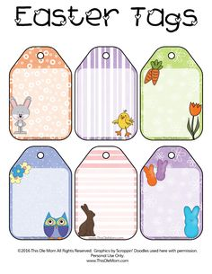 Free Easter & Spring Printable Gift Tags. Adorable and free.