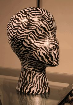 Zebra Mannequin Head We sell styrofoam heads at Mannequin Madness so you can make projects like this