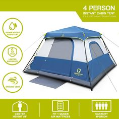 Instant Fast 60 Seconds Easy Set Up Imported Provide Top Rainfly Tips:The specifications of QOMOTOP tents are strictly formulated in accordance with Amazon's size standards, while our tents are 1 feet wider than similar products. A 4-person tent means that it can accommodate four adults without placing any other items.(6-person, 8-person, 10-person are the same. So if you want a more comfortable camping experience, or a wider private space,it is recommended that you choose a tent one size… Camping Toilet Tent, Tent Camping, Best 4 Person Tent, Pop Up Changing Room, Canopy Tent, Tents, Shower Tent, Camping Set Up, Tent Stakes