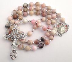Catholic Rosary Pink Opal Beads Heart Shape by GloriaRosaries Rosary Tattoo On Hand, Rosary Bead Tattoo, Rosary Necklace, Rosary Beads, Prayer Beads, Holy Rosary, Rosary Catholic, Catholic Jewelry, Crystal Beads