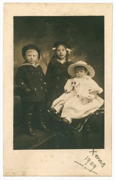 Xmas 1909, antique photo postcard, family studio portrait, three Edwardian children, siblings, sailor suits, old Christmas greetings card by GeraniumBlue on Etsy https://www.etsy.com/uk/listing/566125991/xmas-1909-antique-photo-postcard-family