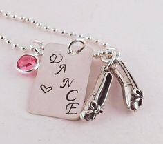 Love DANCE Sterling Silver Charm Necklace with Dance Shoe Charm and Silver Plated Crystal Birthstone