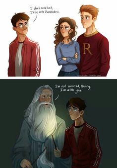 """Harry said to Ron & Hermione, """"I don't need luck, I'll be with Dumbledore. Dumbledore later said, """"I'm not worry Harry, I'm with you. Harry Potter Fan Art, Harry Potter World, Harry Potter Humor, Fans D'harry Potter, Mundo Harry Potter, Harry James Potter, Harry Potter Universal, Harry Potter Deleted Scenes, Harry Potter Comics"""