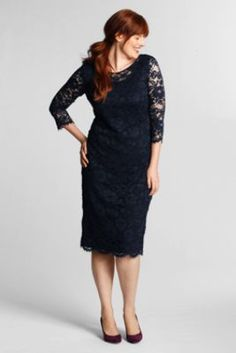 Women's Plus Size 3/4-sleeve Lace Ponté Dress from Lands' End