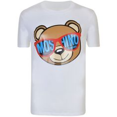 MOSCHINO Swim Teddy Bear T Shirt ($100) ❤ liked on Polyvore featuring tops, t-shirts, short sleeve tee, cotton crew neck t shirts, pattern t shirt, cotton t shirts and print t shirts