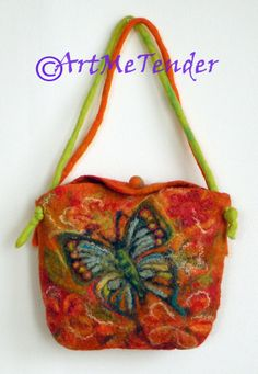 Wet felted Butterfly bag hand made colorful bag by artmetender, $53.00