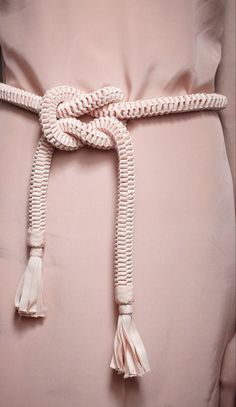 Rope Cord Belt with Grosgrain Ribbon Tassels