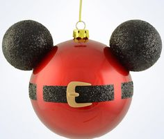 Disney Parks Mickey Icon Santa Belt Glass Ball Christmas Ornament Glass 4 1/2'' H x 6'' W New with tags