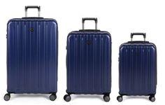 Delsey Luggage Helium Titanium Hardside 3 Piece Luggage Set 21, 25, 29, Blue
