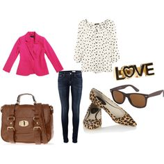 hot pink, leopard, casual