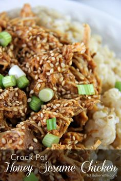Crock Pot Honey Sesame Chicken -- use coconut animos in place of soy sauce, sub arrowroot for cornstarch / from Bakerette
