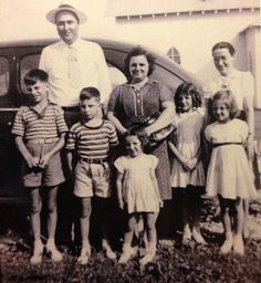 My grandpa Joe Henry Whitaker is far left.  Mamaw Whitaker, (Nelda Saltha Henry) in the middle   Kids pictured are my great aunts/uncles and the two adults on the end are insurance agent and wife.  Clarkson, KY Whitaker family history Henry family history