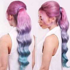 cotton candy hair pastel mermaid hair rainbow pink purple blue unicorn hair(@leannelimwalker)