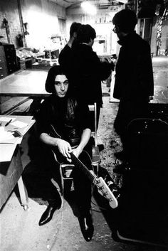 Rare photo of John Cale at the Factory, probably Lou Reed on the back