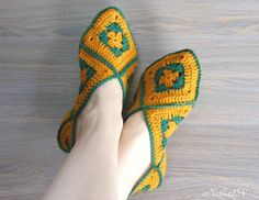 Crochet woman& slippers home shoes granny square by NatkaLV Crochet Woman, Hand Crochet, Knit Crochet, Granny Square Slippers, Sheep Wool, Fashion Flats, Wool Yarn, Womens Slippers, Loom
