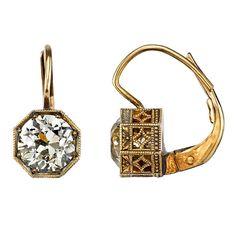 2.05 Carat Geometric European Cut Diamond Gold Earrings | From a unique collection of vintage dangle earrings at https://www.1stdibs.com/jewelry/earrings/dangle-earrings/