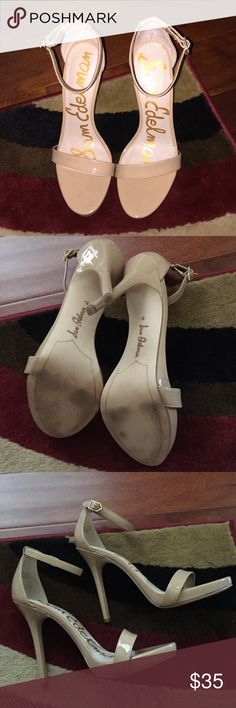 Great Condition Nude Sam Edleman Heels. Sz 8.5 Nude Sam Edleman heels with ankle straps. In great condition. There are no snags or tears on anything on the heels. Very versatile must have shoes! Sam Edelman Shoes Heels