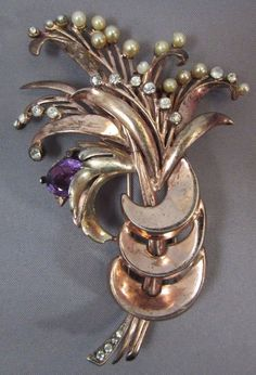 Ralph Derosa 1940s STERLING Silver Flower Fur Pin Clip Brooch Spray Figural #derosa
