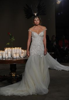 Galia Lahav Fall 2016 off the shoulder trumpet style wedding dress   https://www.theknot.com/content/galia-lahav-wedding-dresses-bridal-fashion-week-fall-2016