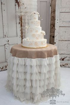 This beautiful Chichi tablecloth sets the stage for a charming wedding cake table. Available in 3 sizes. Free Shipping!