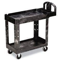 Rubbermaid HD 2-Shelf Utility Cart w/Lipped Shelf (Small)