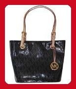 Michael Kors Black MK Mirror Metallic Item MD Tote Shoulder Bag Handbag Purse - Shoulder bags (*Amazon Partner-Link)