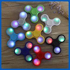 (Pack of 50)LED Light Up Hand Finger Fidget Sensory ADHD Toy Spinners w/ 2 settings Wholesale Bulk Assortment - Fidget spinner (*Amazon Partner-Link)
